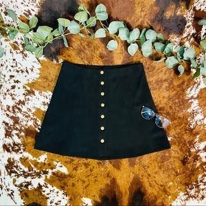 Wishlist Black Faux Suede Button Down Flared Skirt
